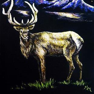 Art: Elk at NightFall  (SOLD) by Artist Monique Morin Matson