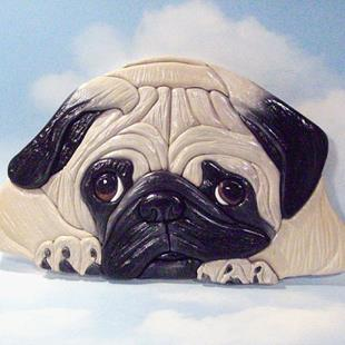 Art: Why So Sad ? Pug.. Original Painted Intarsia Art by Artist Gina Stern