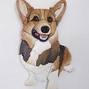 Art: SMILER 2 Original Corgi Painted Intarsia Art by Artist Gina Stern