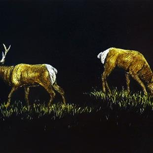 Art: Elk Bulls (SOLD) by Artist Monique Morin Matson