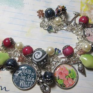 Art: Tropical Altered art charm bracelet by Artist Lisa  Wiktorek