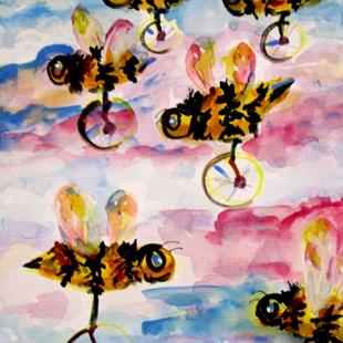 Art: uni cycle bees by Artist Delilah Smith
