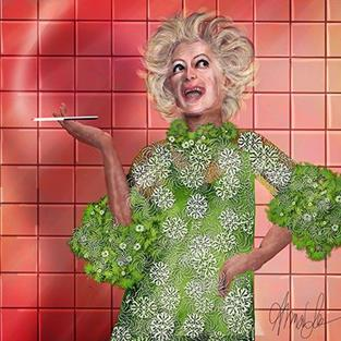 Art: HA!: Portrait of Phyllis Diller by Artist Alma Lee