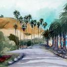 Art: Palms at Refugio Beach by Artist Claudia Cook