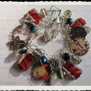 Art: Vintage Paris Altered Art Charm Bracelet by Artist Lisa  Wiktorek
