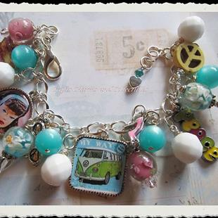 Art: Retro throwback, Altered Art charm bracelet by Artist Lisa  Wiktorek