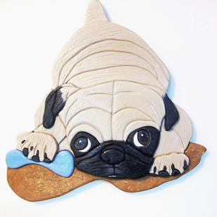 Art: Pug My Bone Originial Painted Intarsia Art by Artist Gina Stern