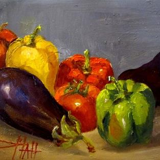 Art: Peppers and Eggplants by Artist Delilah Smith