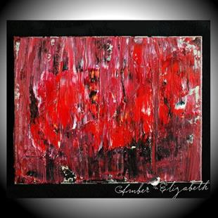 Art: Red Figures in the Rain (sold) by Artist Amber Elizabeth Lamoreaux