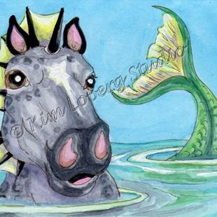 Art: Sea Horse Selfie by Artist Kim Loberg