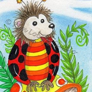 Art: Hedge  Hog Lady Bug by Artist Kim Loberg