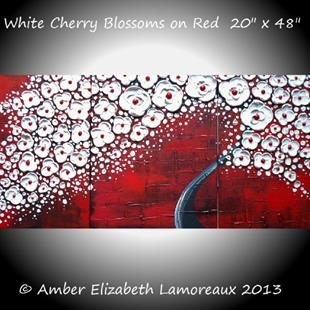 Art: White Cherry Blossoms on Red (sold) by Artist Amber Elizabeth Lamoreaux