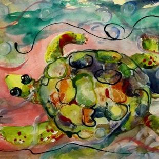 Art: Turtle and Bubbles by Artist Delilah Smith
