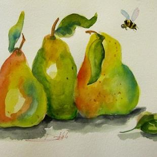 Art: Three Pears and a Bee by Artist Delilah Smith