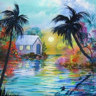 Art: Tropical SunDown -SOLD by Artist Ke Robinson