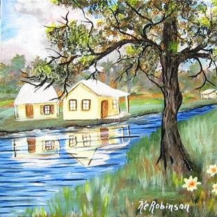 Art: Yellow House by the stream #7293 SOLD by Artist Ke Robinson