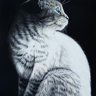 Art: Sitting Cat  (SOLD) by Artist Monique Morin Matson