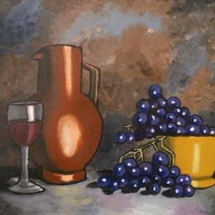 Art: Grapes and Wine by Artist Mats Eriksson