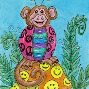 Art: Shy Monkey Lady Bug - SOLD by Artist Kim Loberg