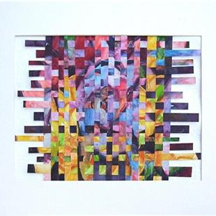Art: Watercolor Weaving Collage - sold by Artist Ulrike 'Ricky' Martin