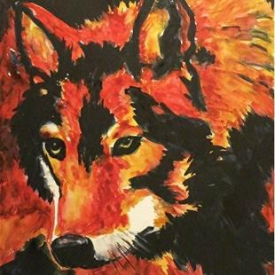 Art: Wolf Portrait    (sold) by Artist Ulrike 'Ricky' Martin