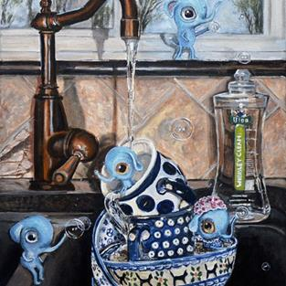Art: Wibbley Clean: Polish Pottery LXXX by Artist Heather Sims