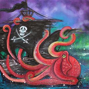 Art: A Pirates Tale - Attack Of The Mutant Octopus by Artist Laura Barbosa