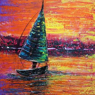 Art: Sailing at Sunset by Artist Laura Barbosa