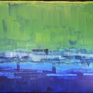 Art: Blue Green Abstraction 120x80x4 154 (s) by Artist Luba Lubin
