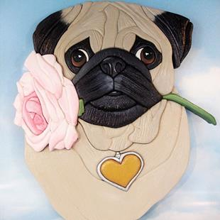 Art: Pug..Will you accept this rose..?? Original Painted Intarsia Art by Artist Gina Stern