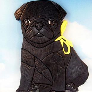 Art: Pug Dog...Tie a Yellow Ribbon Original Painted Intarsia Art by Artist Gina Stern