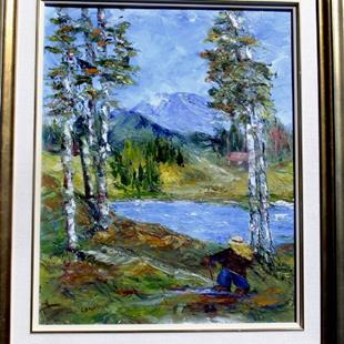 Art: Happy Hiker! (sold) by Artist Kathy Crawshay