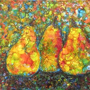 Art: Encaustic Pear Abstract by Artist Ulrike 'Ricky' Martin