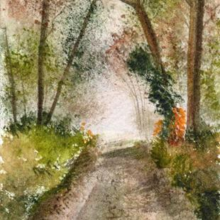 Art: Misty Woods ACEO by Artist Janet M Graham