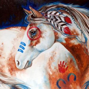 Art: SUN RISING INDIAN WAR HORSE by Artist Marcia Baldwin