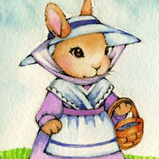 Art: Country Bunny ACEO by Artist Carmen Medlin