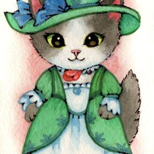 Art: Kitty of the French Court ACEO by Artist Carmen Medlin