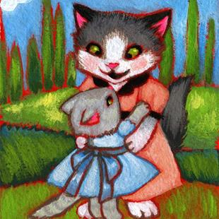 Art: Mother Daughter Dance ACEO - Available by Artist Carmen Medlin