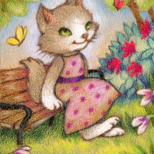 Art: Time to Relax ACEO - Available by Artist Carmen Medlin
