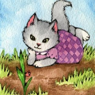 Art: Waiting for the Garden to Grow ACEO - Available by Artist Carmen Medlin