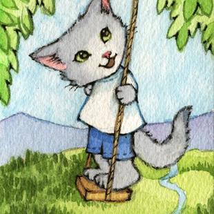 Art: Tree Swing ACEO by Artist Carmen Medlin