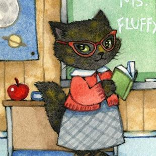 Art: First Day of School ACEO by Artist Carmen Medlin