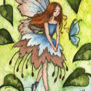 Art: Blue Wings ACEO by Artist Carmen Medlin