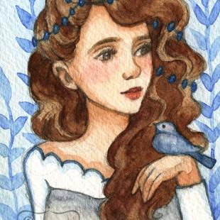 Art: Princess Bluebird ACEO by Artist Carmen Medlin