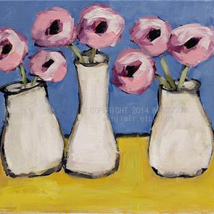 Art: Three White Vases by Artist Windi Rosson