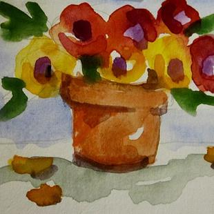 Art: Pot of Flowers Aceo by Artist Delilah Smith