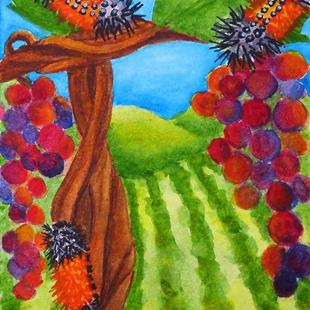 Art: Hanging in the Vineyard  (SOLD) by Artist Monique Morin Matson