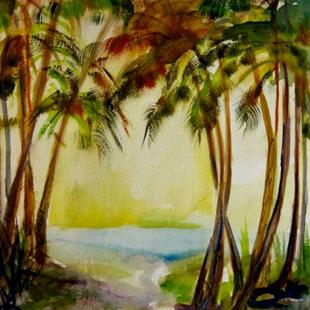 Art: Trees by the Ocean by Artist Delilah Smith