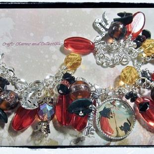 Art: Witch's Den Altered Art Charm Bracelet by Artist Lisa  Wiktorek