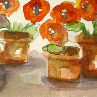 Art: Pots of Poppies by Artist Delilah Smith